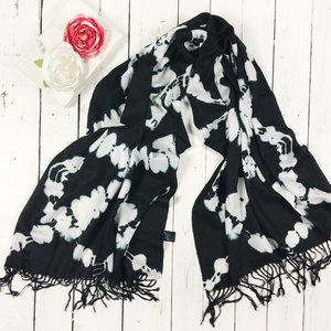 Black and White tie dye festival scarf with fringe